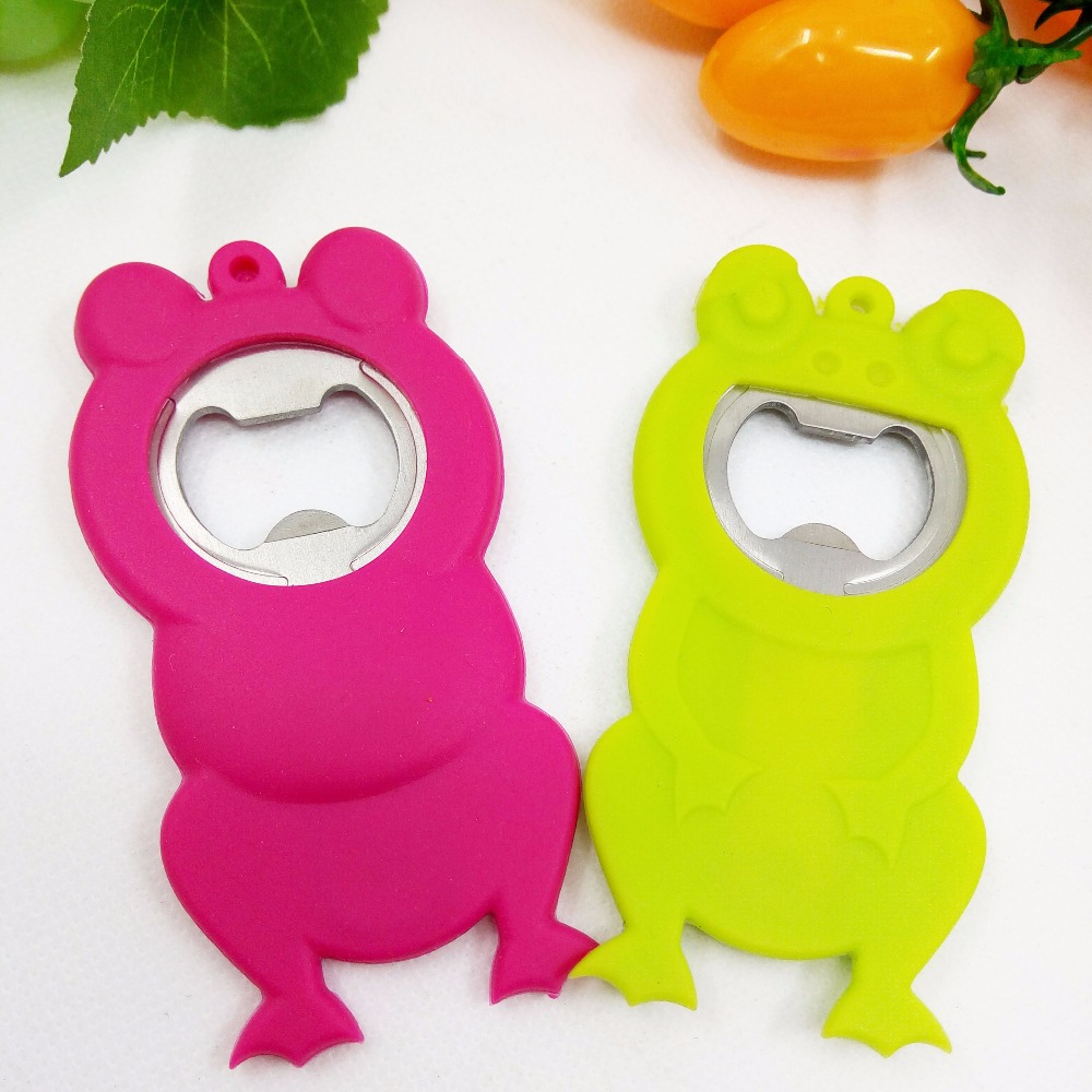 funny frog beer bottle opener in silicone + stainless steel