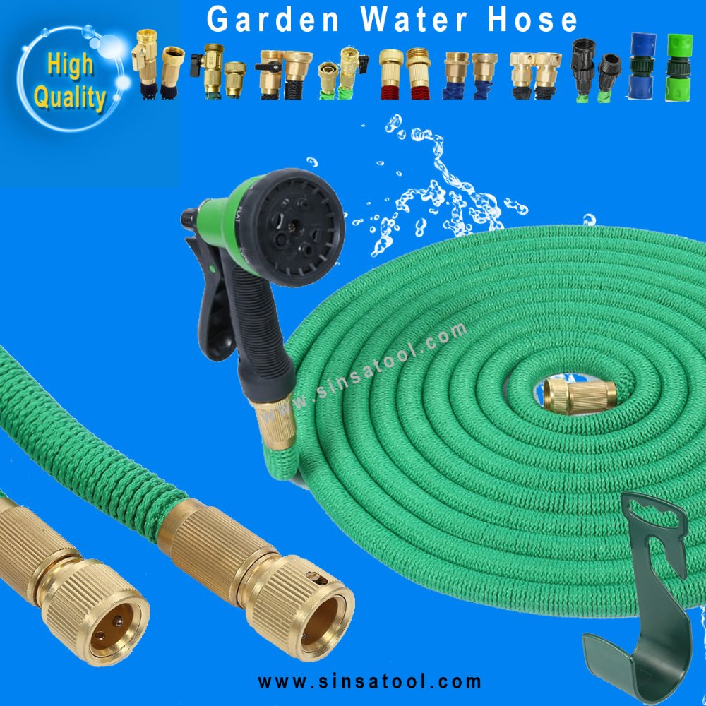 50ft prime brass flexible Expandable Bungee Hose with spray gun