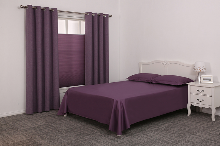 Wholesale polyester linen look purple luxury drapes customise black out curtains