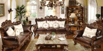 Genial Italian Leather Sofa With Wood Trim