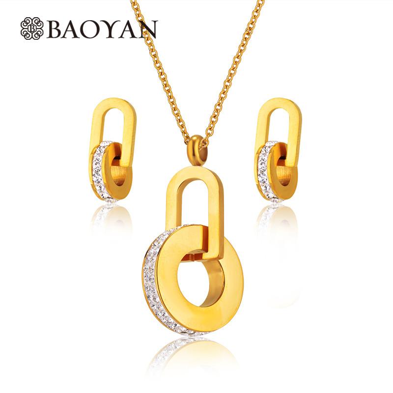 42af0c37e961 Joyeria de Acero Quirurgico Dorado con Cristal en Forma Redondo Para Mujer  Por Mayoreo