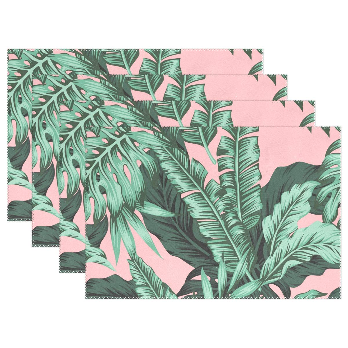 """THENAHOME Tropical Banana Leaves Placemats Heat Stain Resistant Anti-Skid Table Mats for Kitchen Dining Table (12""""x 18"""")"""