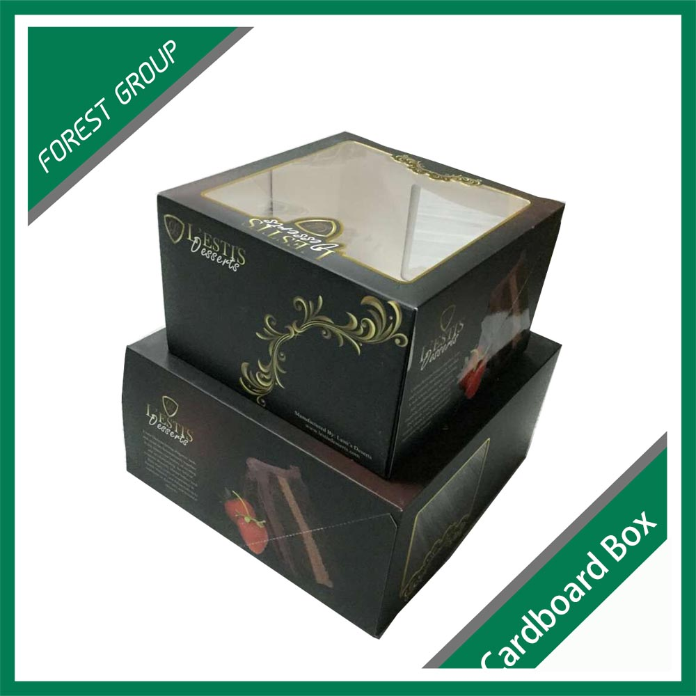 MATT LAMINATION BLACK CARDBOARD CAKE BOXES FACNY CARDBOARD PACKING BOXES FOR CHIRSTMAS CAKE