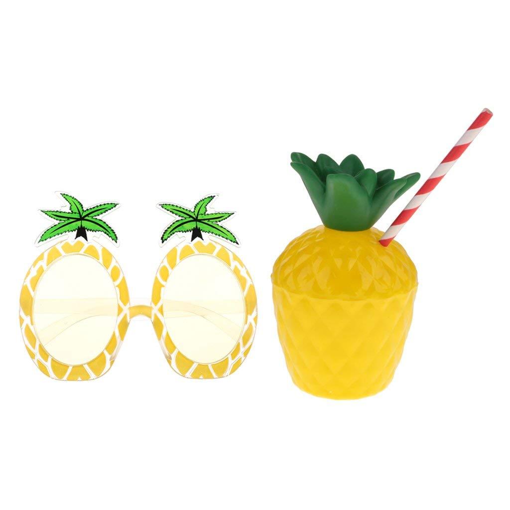 Baoblaze Laua Tiki Party Sunglasses & Juice Drinks Cup for Hawaiian Party Fancy Dress