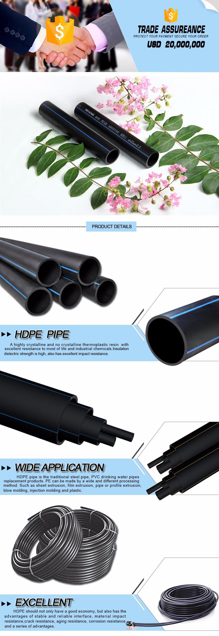 קטן שחור פלסטיק מים קוטר sdr11 hdpe רול צינור