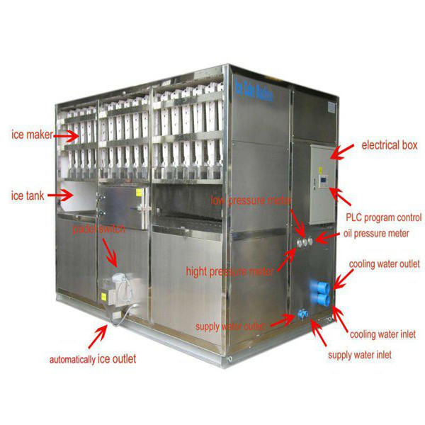 2000kg/24h Automatic square cube ice machines CV2000 cylinder cube ice maker machines for sale