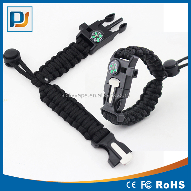 Man's Outdoor Tactical Survival Paracord Emergency Sport Bracelet with Firestarter Whistle Compass Striker / Cutter