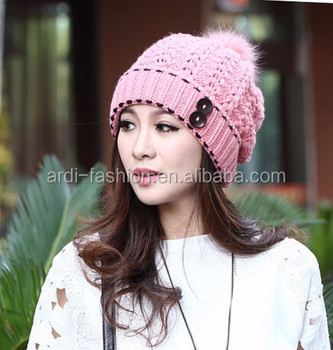 f2b0ccb6f74b trendy design big pompoms latest design ladies wool knit hat with buttons