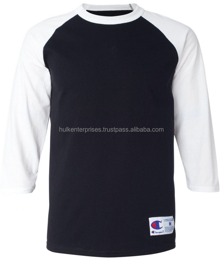 100% Cotton Long Sleeve White and Black Baseball Jersey