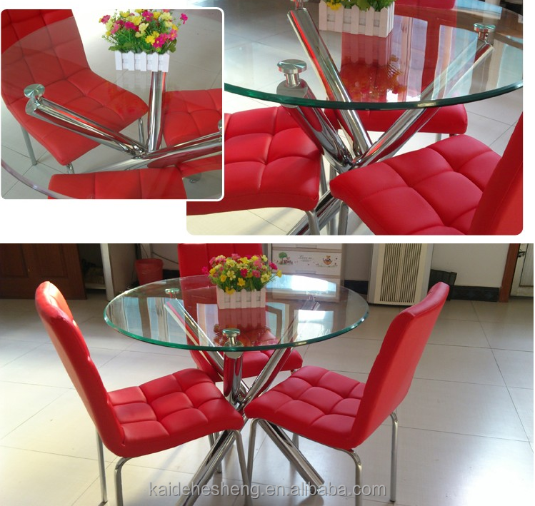 used chrome metal glass dining table and chair for restaurant
