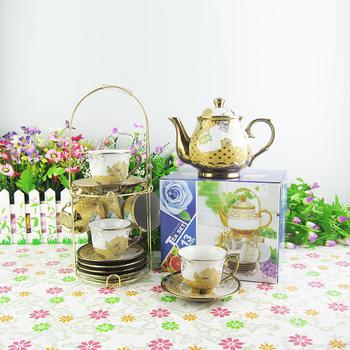 15 Pcs Royal Tea Coffee Serving Set European Style Flower Porcelain Cup And Saucer