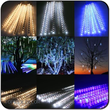 30cm led rain drop christmas lights with snow down effect set of 8