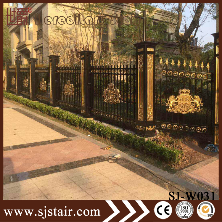 European Design Black Villa Outside Gate Flowers Carving: Outdoor European Style Garden Fences Red Antique Color