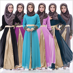 monroo New spring Summer Women Muslim Fashion Chiffon Skirt Lady Girl Ankle length Bottoms 6 color Muslim casual Abaya dress