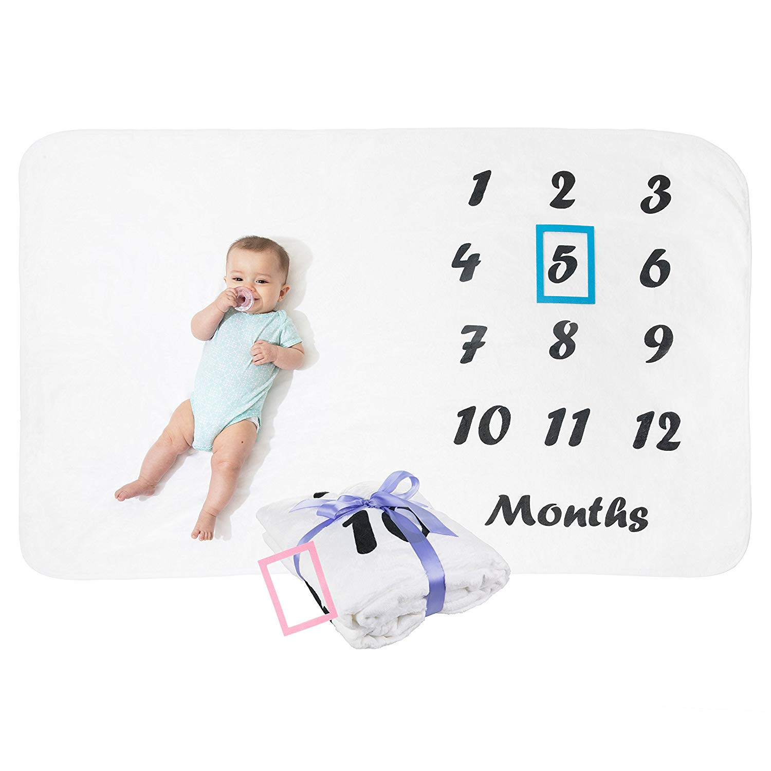 Baby Milestone Blanket for Boys and Girls: Infant Calendar Month Photography Prop Blankets - Monthly Newborn Growth Photo Blanket with 2 Picture Frame Props Included - 60 x 40 inch