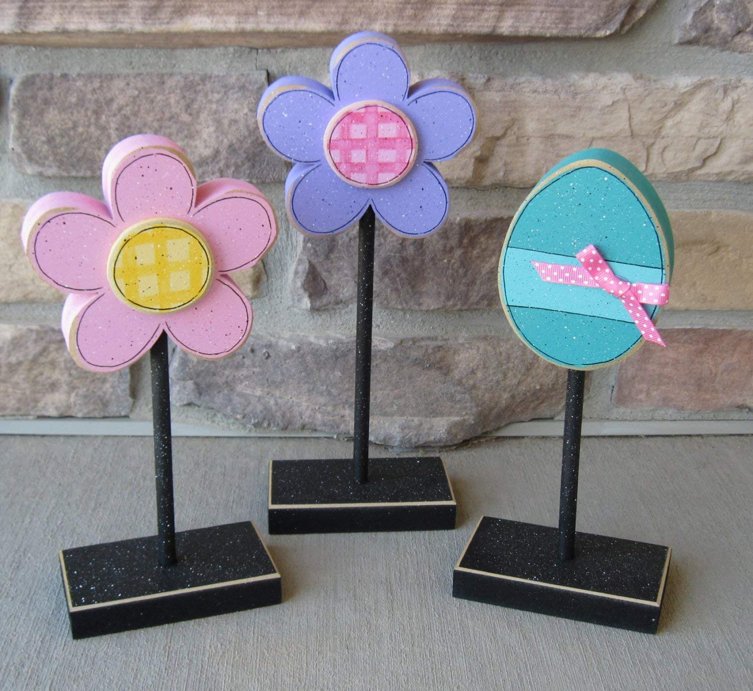 3 Tall Standing Spring and EASTER Themed Block SET for Easter decor, shelf, desk, office and home decor