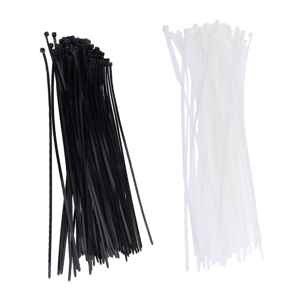 Jili Online 200Pcs Nylon Releasable Cable Tie Zip Wraps Ratchet Ties Wire 4.8x400mm