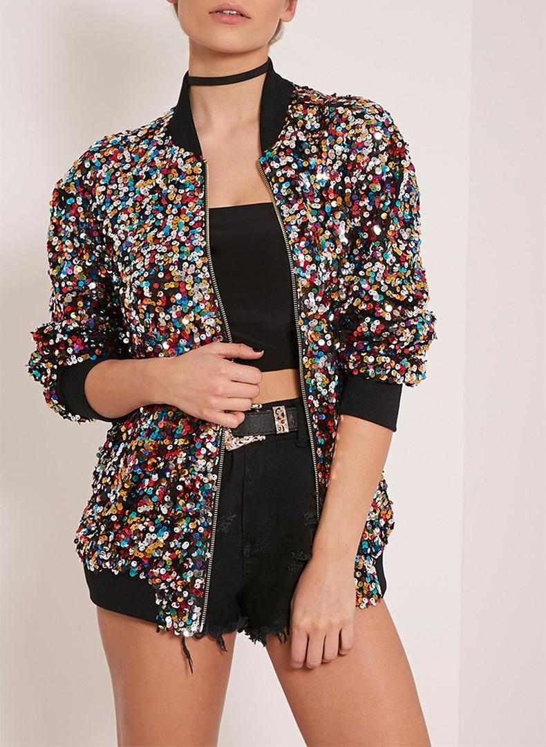 d0b6383159753 Wholesale Brand New Stylish Sequins Bomber Jacket Multi Color Shiny ...