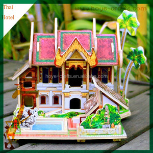 DIY building house wooden 3d jigsaw puzzles for Christmas gifts presents