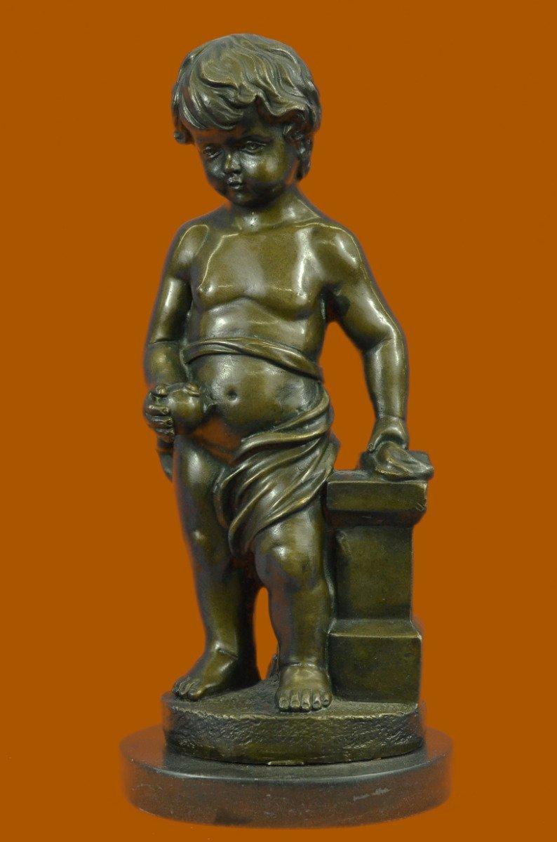 "...Handmade...European Bronze Sculpture 13"" Signed Art Nude The Little Boy Holding Apple (YRD-086-UK) Bronze Sculpture Statues Figurine Nude Office & Home Décor Collectibles Sale Deal Gifts"