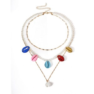 Zooying Personalized pearl multi-layer collars colorful shell necklace