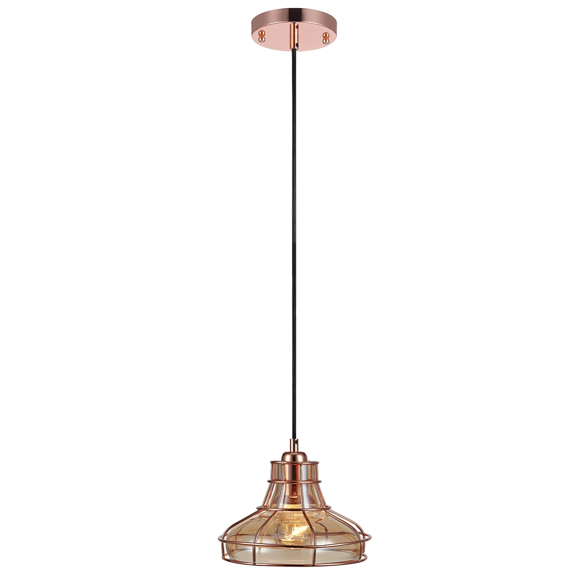 Versanora VN-L00032 Mini Illusione 1-Light Metal Pendant Lamp with Cage-Rose Gold Finish | Vintage Style | Industrial Design for Modern Kitchens. Living Rooms and Bedroom