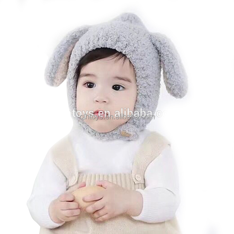 9903903e02c Baby Rabbit Ears Hat Winter Baby Bonnet Hat Knitted Infant Toddler Cap Girl  Boy Accessories Photography Props