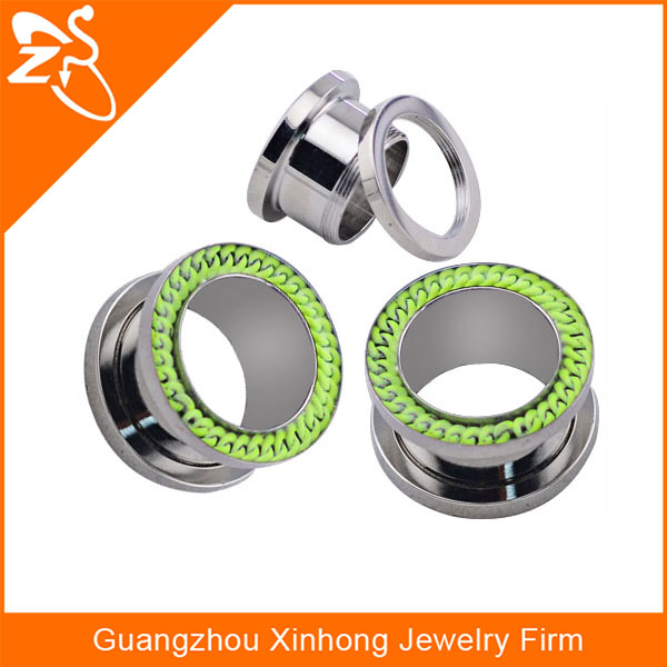 stainless steel inlay green chain zipper custom ear gauges plugs ear stretcher piercing jewelry