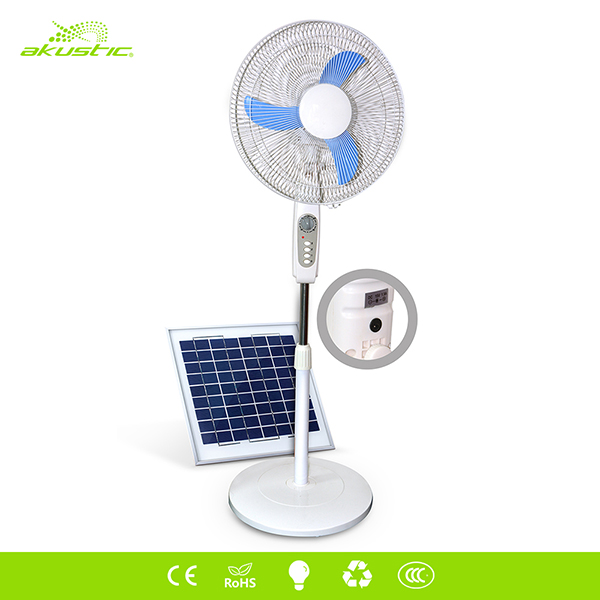 "100% copper DC brushed motor solar rechargeable 16"" dc stand fan"