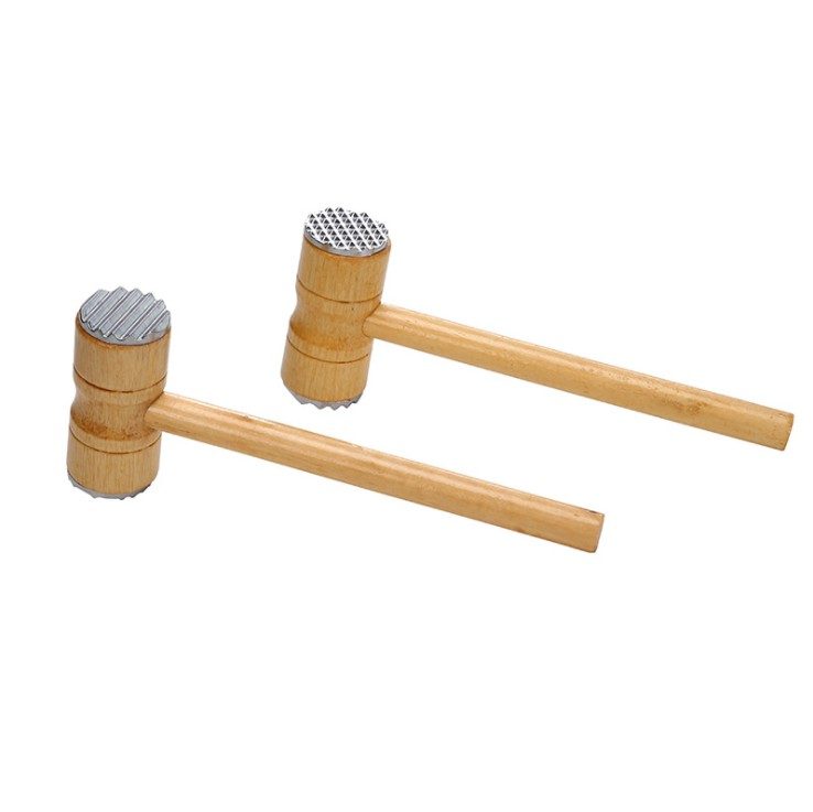 Pounder Kitchen Tool with Aluminum Alloy Heads For Tenderizing Steak Beef Wooden Double-sided Hammer