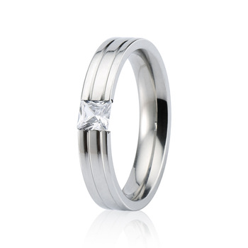 Silverblack Gold Mens Wedding Ring Stainless Steel Single Cubic