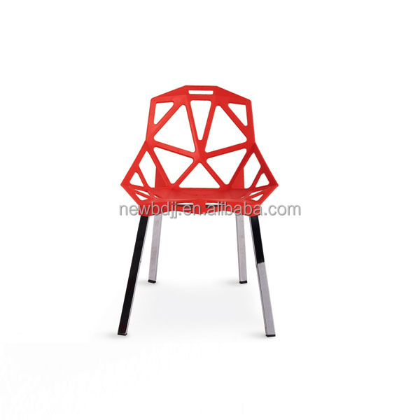 Modern style net PP plastic chair leisure dining chair with aluminum legs