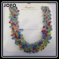 Wholesale fashion luxury diamond statement multi layer colorful glass bead crystal necklace