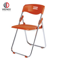 bazhou modern appearance wholesale orange color plastic chair for promotion