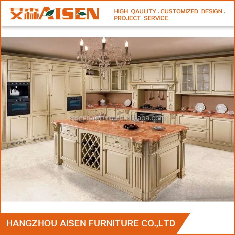 America Standard wooden antique kitchen Cabinet design solid wood kitchen cupboards