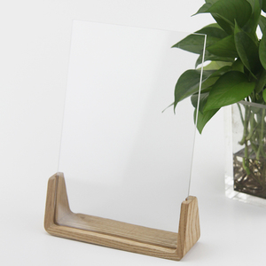 wooden base acrylic table menu sign holder price tag display stand poster picture frame