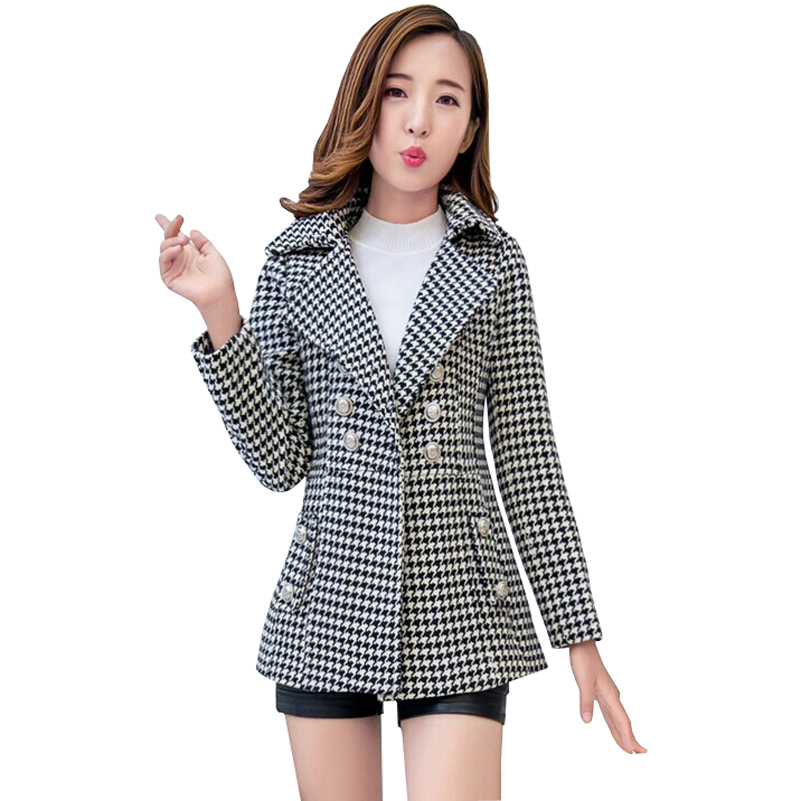 Winter Women Coat 2015 New Fashion Autumn & Winter Clothes Casual Outerwear Long Sleeve Double Breasted Houndstooth Coat Women