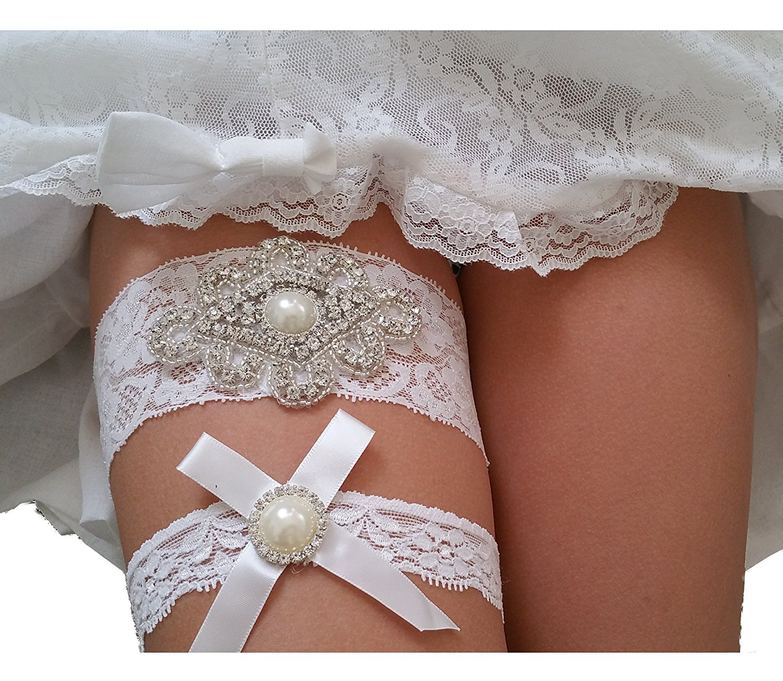 3b60ecc2a33 Get Quotations · Rhinestone Pearl Vintage White Ivory Lace Wedding Garter  Set