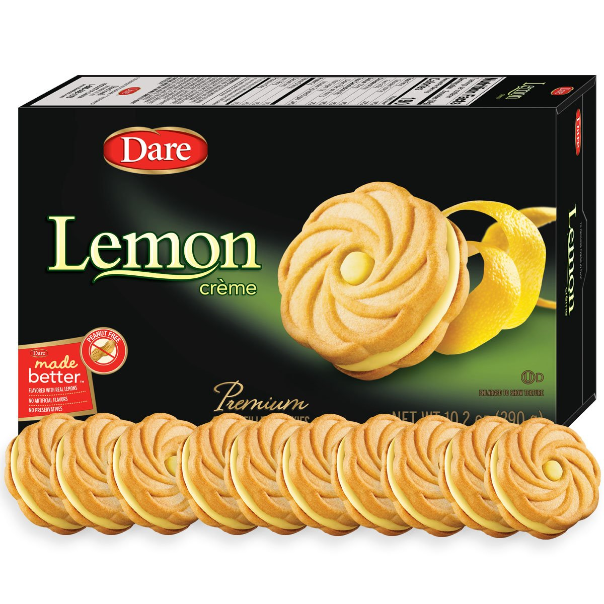Dare Lemon Crème Cookies – Made Fresh with Real Lemon Filling and No Artificial Flavors, Peanut Free – 10.2 Ounces (Pack of 12)