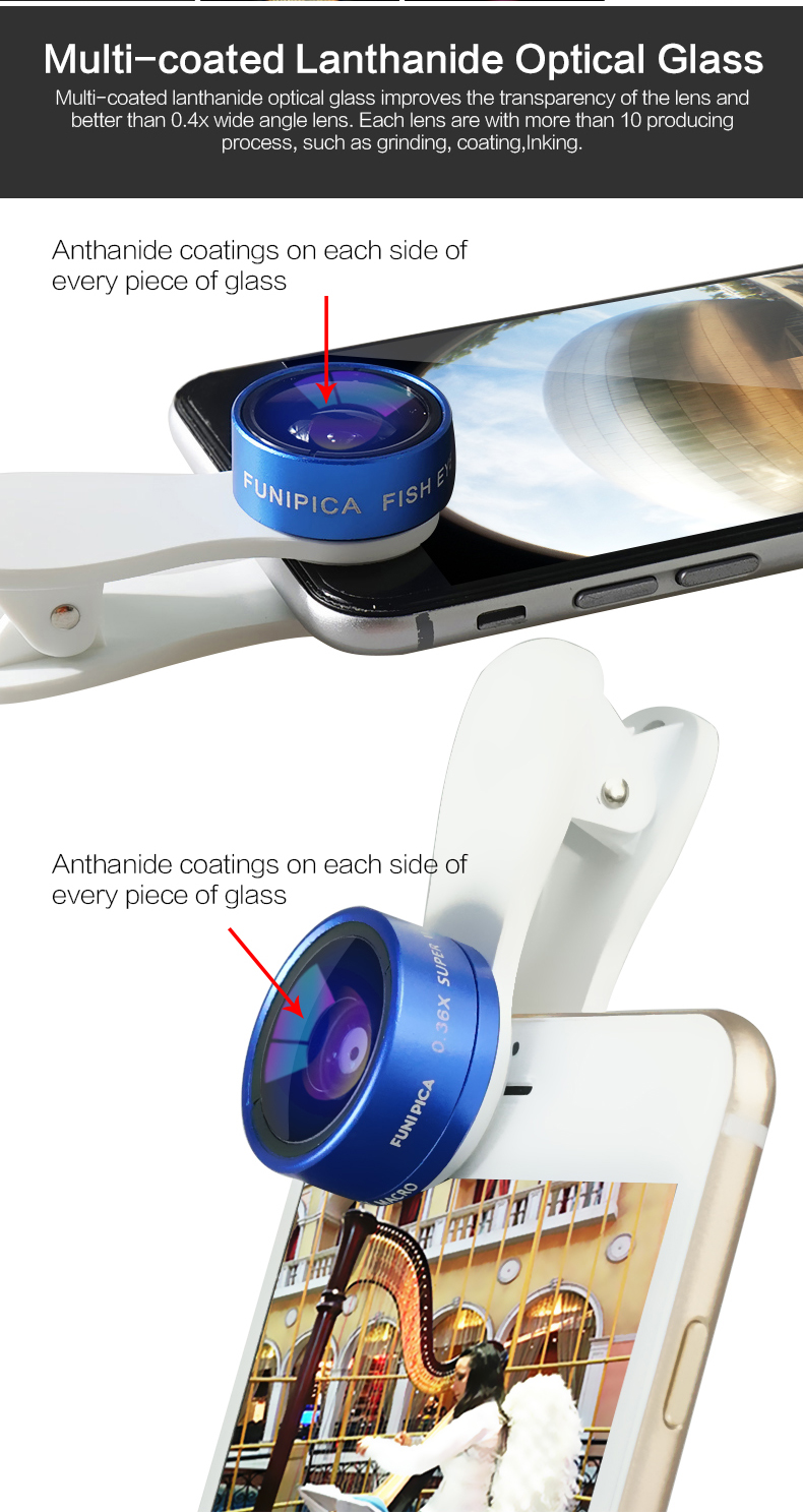 FUNIPICA Colorful Smartphone 3-in-1 Camera Lenses with new clip lens design