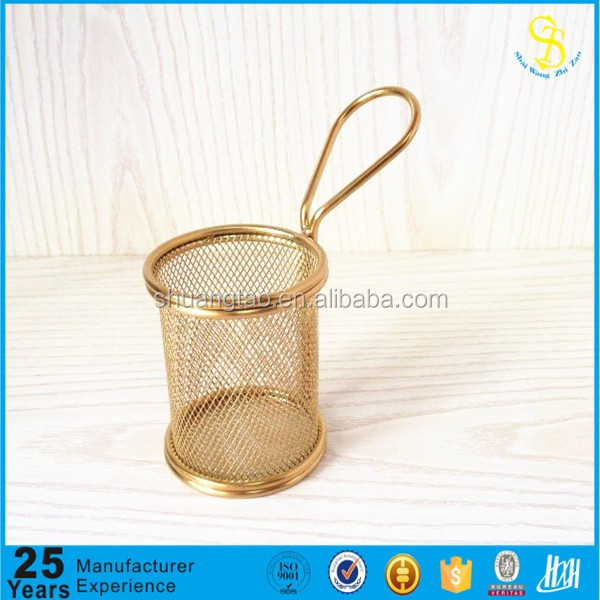 SGS high quality rust resistant gold plating mini roung cooking french fries metal chip basket/KFC serving basket