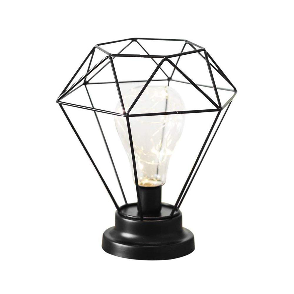 Vintage Metal Table Lamp Industrial Cage Style Desk Light Battery Operated Bedside and Table Lamps Black for Living Room Bedroom Office Black