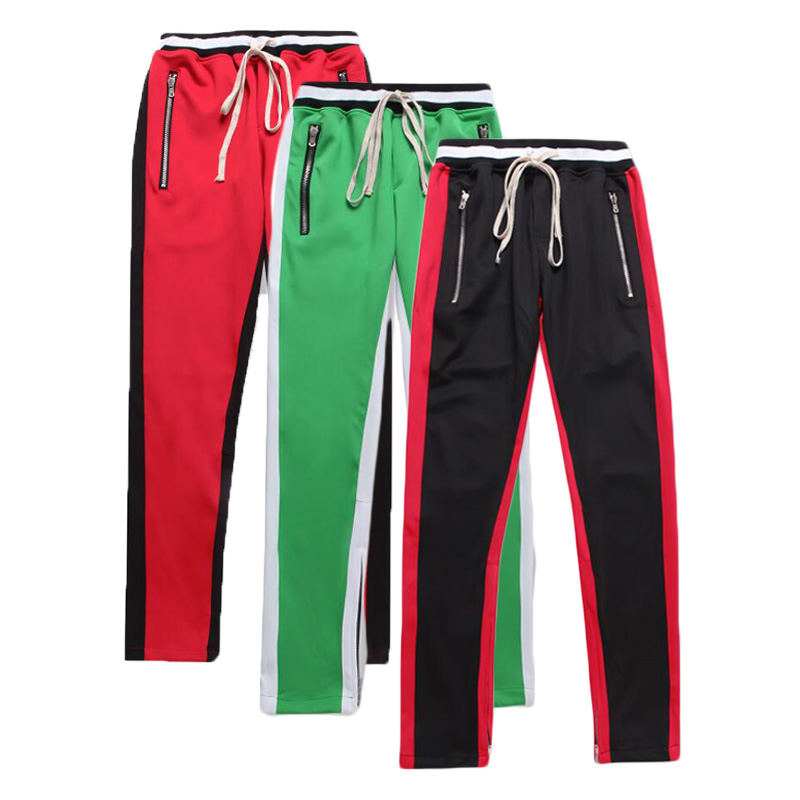 2d1594b9 Hip Hop Ankle Zipped Panelled Side Stripe Patchwork Track Pants Slim Fit French  Terry Sweatpants Jogger