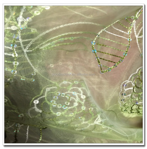 Apple Green Elegant Organza Lace with Sequins