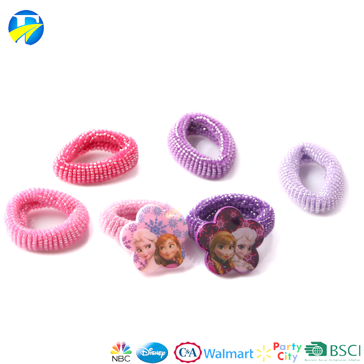 FJ brand custom child baby elastic hair bands manufacturers cartoon cute hair ring for kids