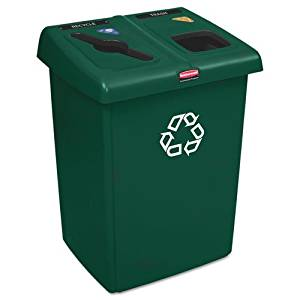 Rubbermaid Commercial Glutton Recycling Station, Rectangular, 2-Stream, 46 Gal, Green - Includes recycling station with one Glutton« receptacle, two Slim Jim« Receptacles, one lid frame and a label pack.