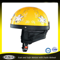 Yellow Novel Half Face Scooter Motorcycle Helmet