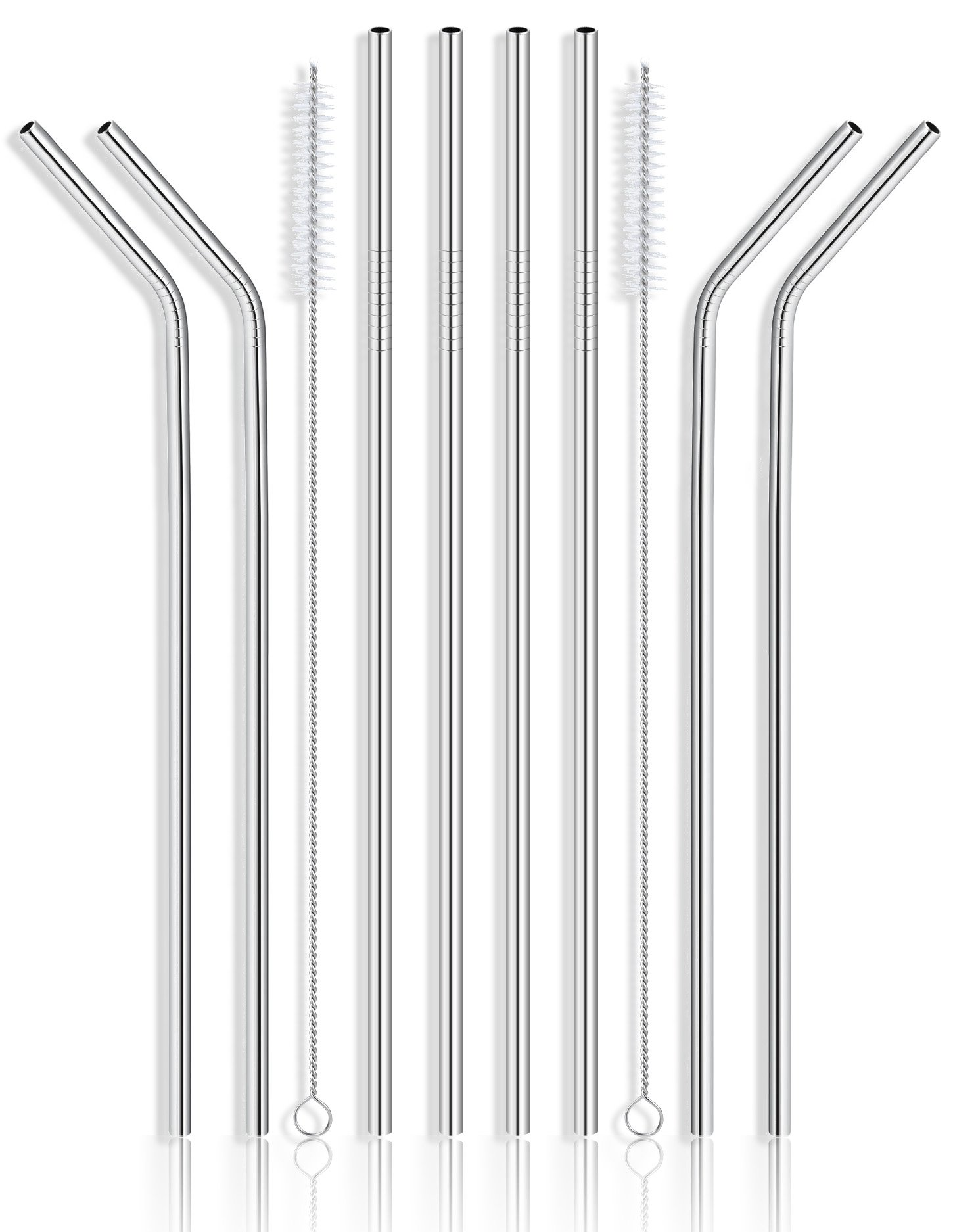 4faf58d77fc Get Quotations · Reusable Stainless Steel Drinking Straws - Set of 8 Extra  Long 10.5