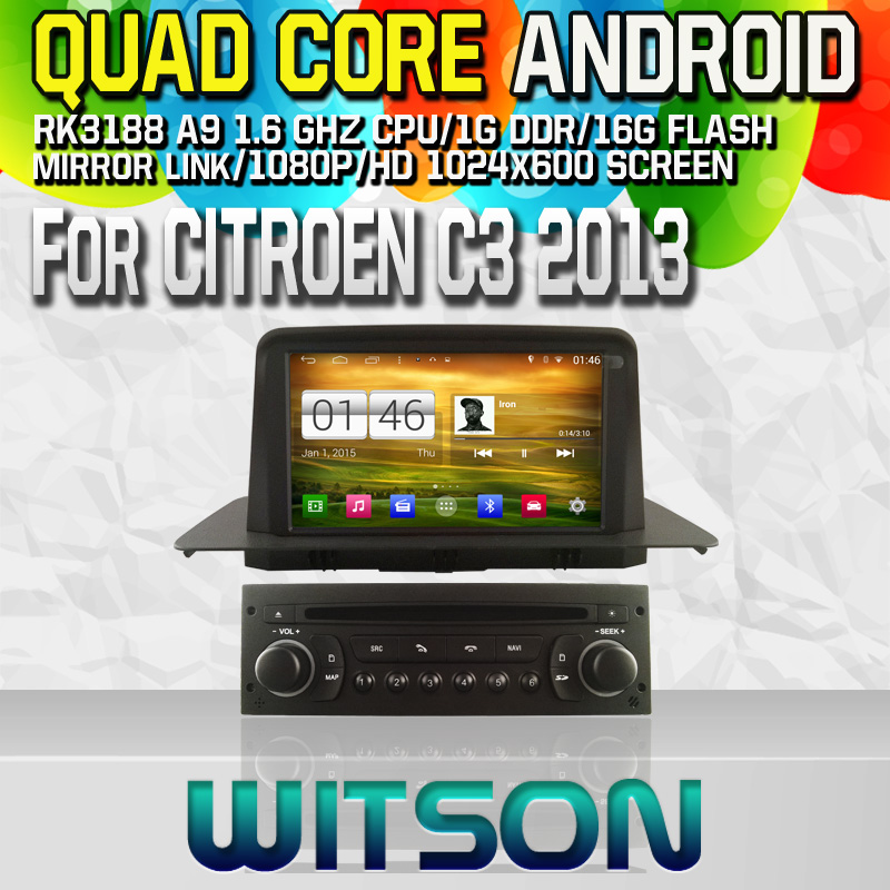 Witson S160 Android 4.4 Car DVD GPS For CITROEN C3 2013 with Quad Core Rockchip 3188 1080P 16g ROM WiFi 3G Internet