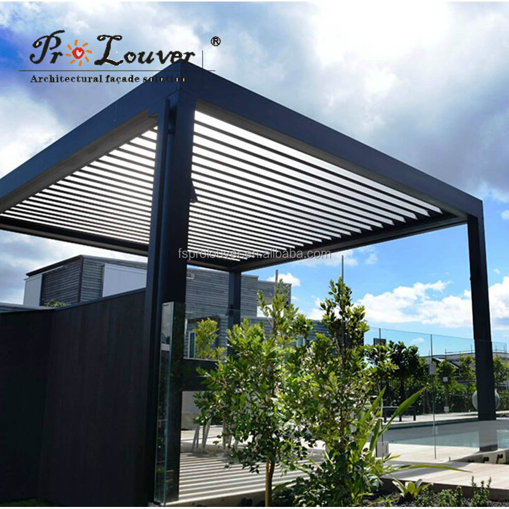 Pergola Motorized Sun Louver Waterproof Louver Open Roof